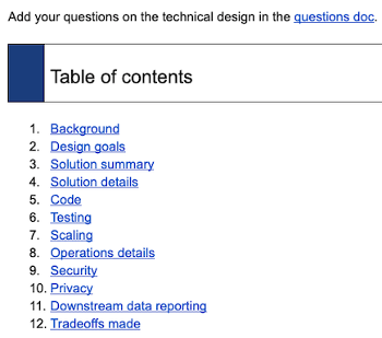 The structure of a technical design document